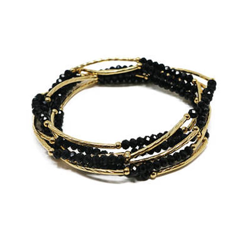 14k Gold Filled S With Black Crystal Roundels Bracelet